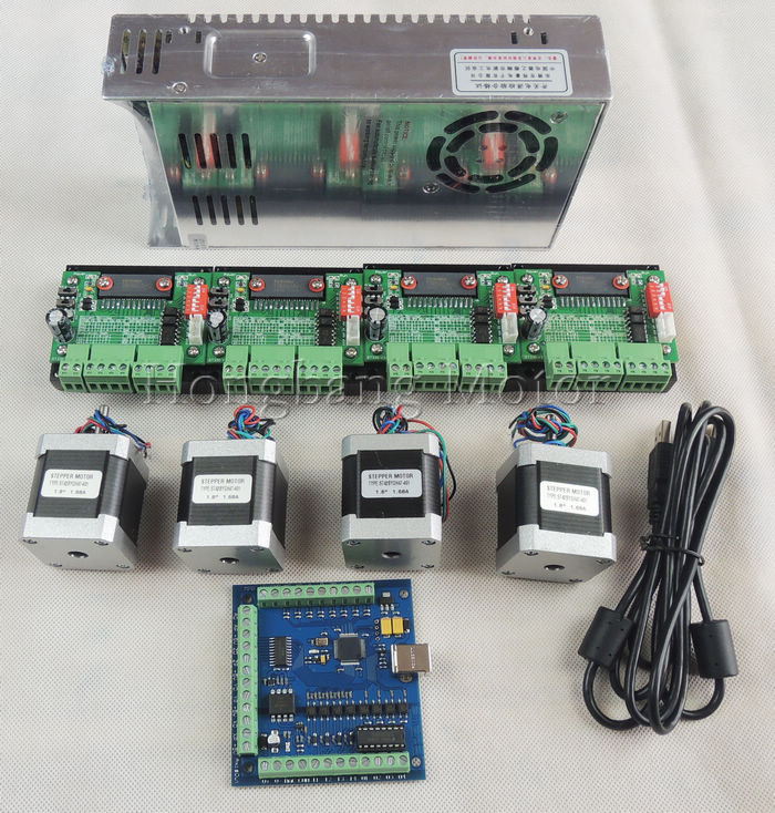 все цены на  CNC mach3 USB 4 Axis Kit, 4pcs TB6560 stepper driver+ mach3 USB stepper motor controller board+ 4pcs nema17 motor +power supply  онлайн