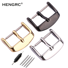 HENGRC Solid Stainless Steel Watch Band Clasp 16 20 22 24mm Silver Gold Black Metal Leather Watchband Strap Pin Buckle Belt  все цены