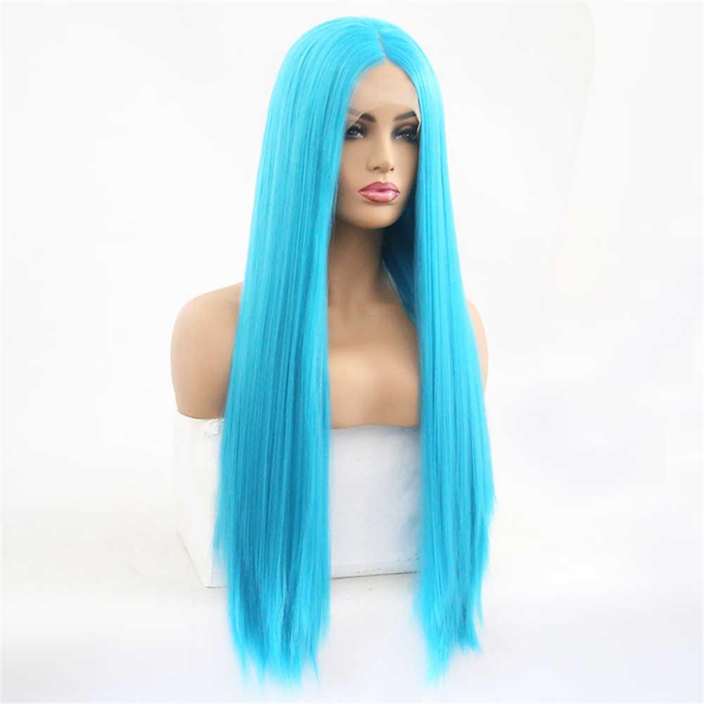 Peluca azul sin pegamento de alta temperatura RONGDUOYI peluca frontal recta de encaje sintético de 26 pulgadas para mujeres blancas con pelo de bebé