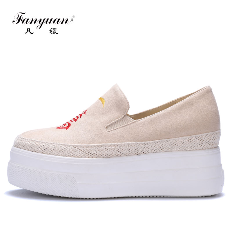 Fanyuan Elegant Embroider Round Toe Female Platform Shoes Casual Slip-on Women Ladies Flat Fashion Women Flat Platform Shoes cresfimix women cute spring summer slip on flat shoes with pearl female casual street flats lady fashion pointed toe shoes