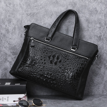 Natural Cow Leather Business Briefcase Luxury Alligator Pattern Genuine Leather Men Handbag