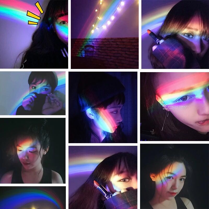 Купить с кэшбэком Ins Celebrity Novelty Romantic Event Fancy Rainbow Led Projection Lamp Colorful Sleep Light Curve Colorful Digital Toy Gift