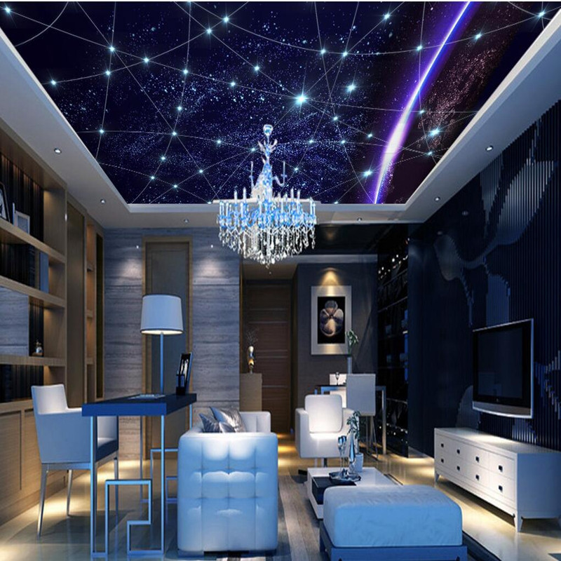 3D Wall Murals Wallpaper Ceiling Wallpaper Sky 3D Wall Murals for Livingroom KTV Hotel Wallcoverings Home Decor Wall Paper 3D beibehang custom wall paper 3d white european carved blue sky white clouds ceiling ceiling murals background