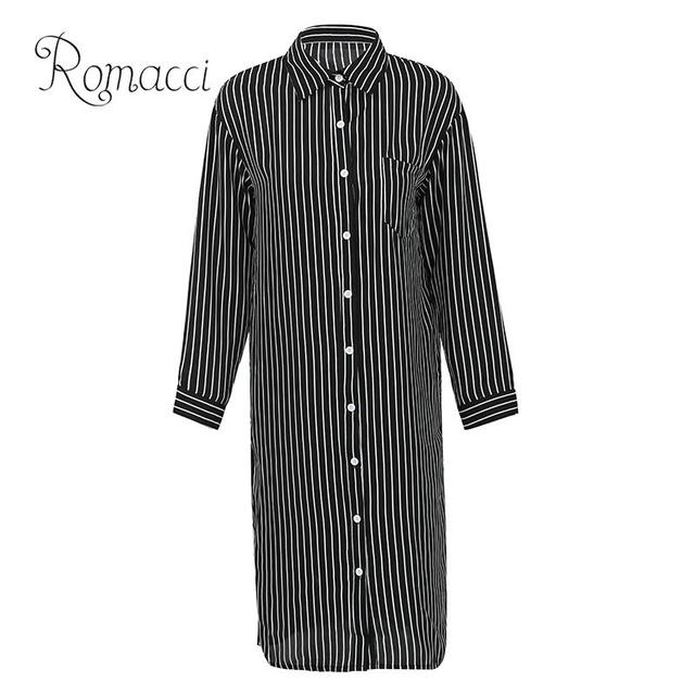 b9b2560a90f Romacci Women Striped Long Sleeve Shirt Turn-Down Collar Plus Size Kimono  Cardigan Autumn Fashion Oversized Tunic Blouse Tops