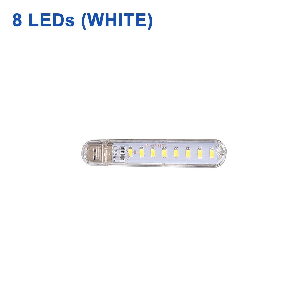 DC 5 В Мини светодиодный Ночной светильник, портативный 10 светодиодный s 24 светодиодный s USB настольная лампа для чтения, сгибаемый удлинитель, адаптер для США, книжный светильник s - Испускаемый цвет: 8LEDs White