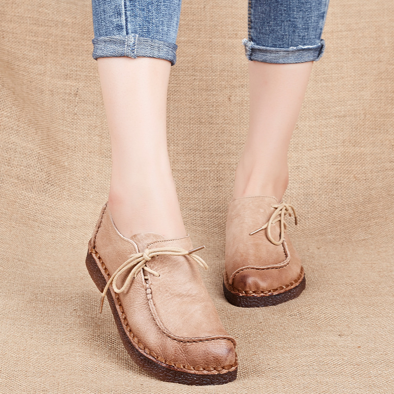 2017 Spring Single Shoes women's Leather Casual Shoes Round Head Large Size Soft Bottom Mother Shoes Peas Handmade HDX-8617 spring new mother single shoes female leather soft bottom leisure work shoes comfortable middle aged large size leather shoes