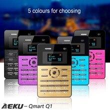 Aeku qmart Q1 карты мобильного телефона 2 г сети low radiation карты мобильного телефона 4.0 мм ультра тонкий карманный 1.0 дюймов карты Mini Slim телефон