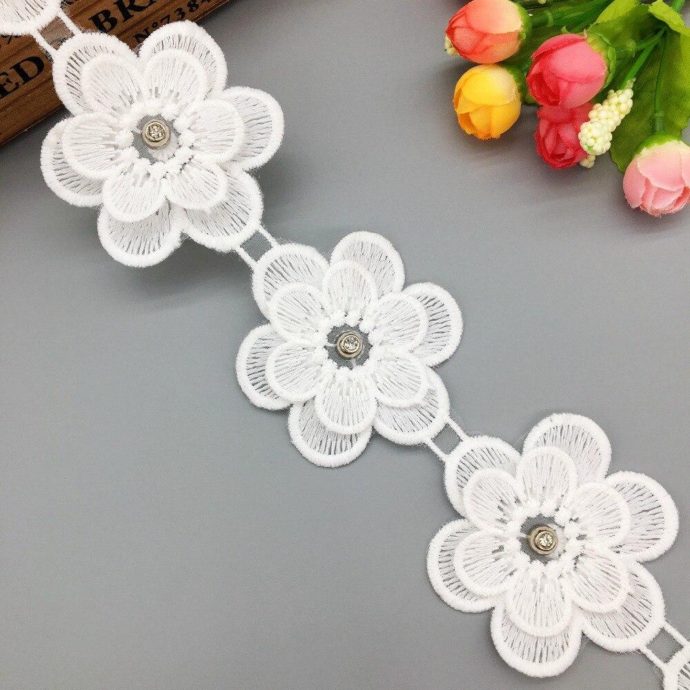DIY 1 Yards Pearl Flower Lace Trim Wedding Embroidered Sewing Trim Handicrafts