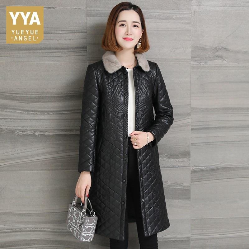 Designer Genuine Leather Coat Women OL Style Embroidery Floral Thick Mink Fur Collar Sheepskin Long Jacket