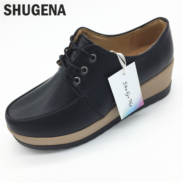 B Free shipping Genuine Leather Autumn Women Casual Shoes Wedge Shoes Women Casual Black Shoes Height Increasing Zapatos Mujer free shipping spring autumn women s flatform casual all match board shoes height increasing shoes