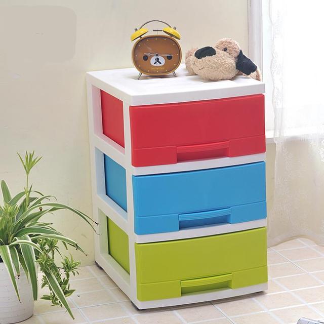 Three Drawer Storage Cabinets Fashion Colorful Landmark Drawer Plastic  Storage Box Free Combination