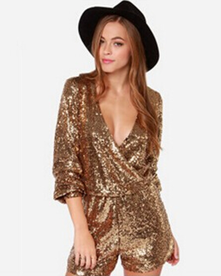 c3b3fce001f4 Nextshe Fashion Solid Deep V Neck Gold Sequin Romper Rompers Long Sleeve Plus  Size Sexy Jumpsuit Overalls Womans Short Bodysuit
