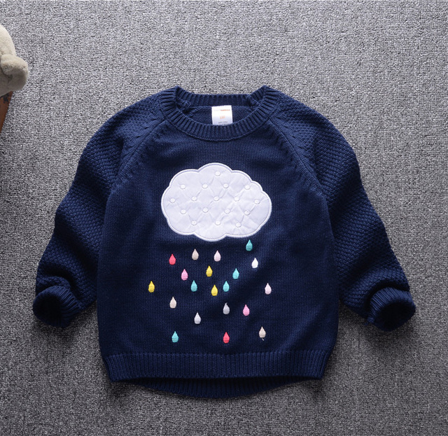 Niños sweaters 2016 otoño bebé nublado algodón suéter de punto suéteres de Las Muchachas de manga larga ropa de Niños para niños