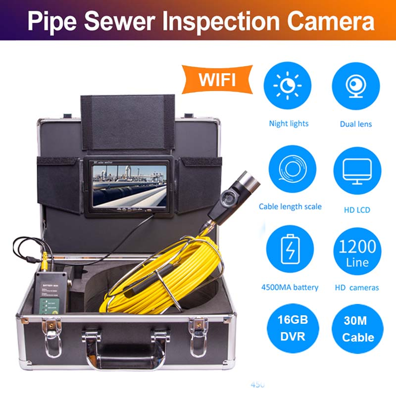 Eyoyo P70E 30M Pipe Pipeline Sewer Inspection Snake Video System DVR Camera Industrial Endoscope Waterproof IP68Surveillance Cameras   -