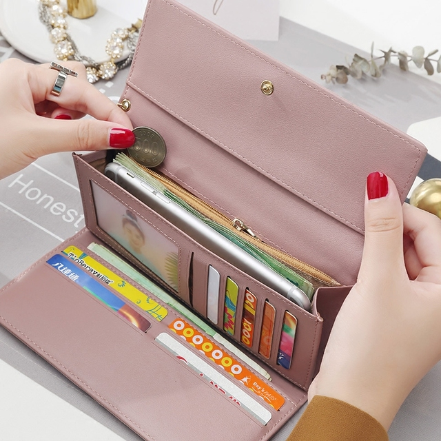 Long Style Multi functional PU leather wallet clutch