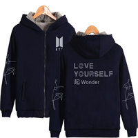 LUCKYFRIDAYF 2018 BTS Theme of LOVE YOURSELF Winter Coat Hoodies Zipper Cap Hoodies Women Thicken Warm Sweatshirts Plus Size 4XL