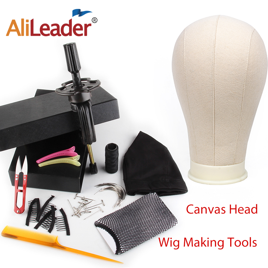 Alileader Cheap 21 24inch Canvas Block Mannequin Head For Wig Making Tools Wig Dome Head Stand Spandex Cap Human Hair Wig Bands