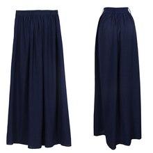 New Women's Girls Casual Long Skirt Full Length Maxi Pleated Blue Skirts L4