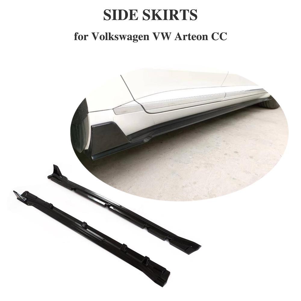 Kit de corps de jupe latérale noire brillante jupes latérales aileron de menton de lèvre pour Volkswagen VW CC Arteon 2019 +