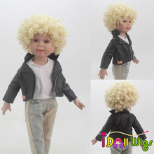 10-11inch Head Circumference Doll Wigs Heat Resistant Fiber Khaki Curls Finished for 18 Height American