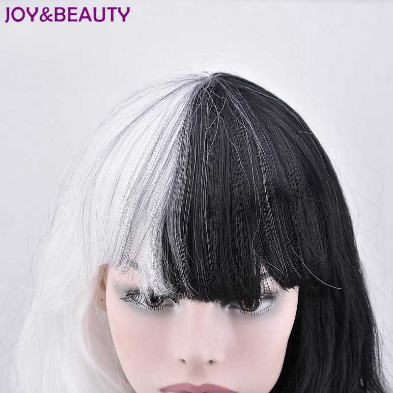 JOY&BEAUTY 70cm Half White and Black Flat Bangs Heat Resistance Long Wavy Synthetic Hair Party Cosplay Full Wigs