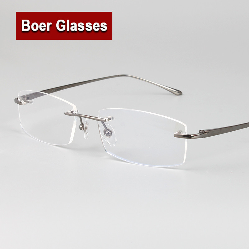 new arrivals business eyewear 100 pure titanium male rimless eyeglasses frame light weight recipe rxable 6379 size 55 17 140