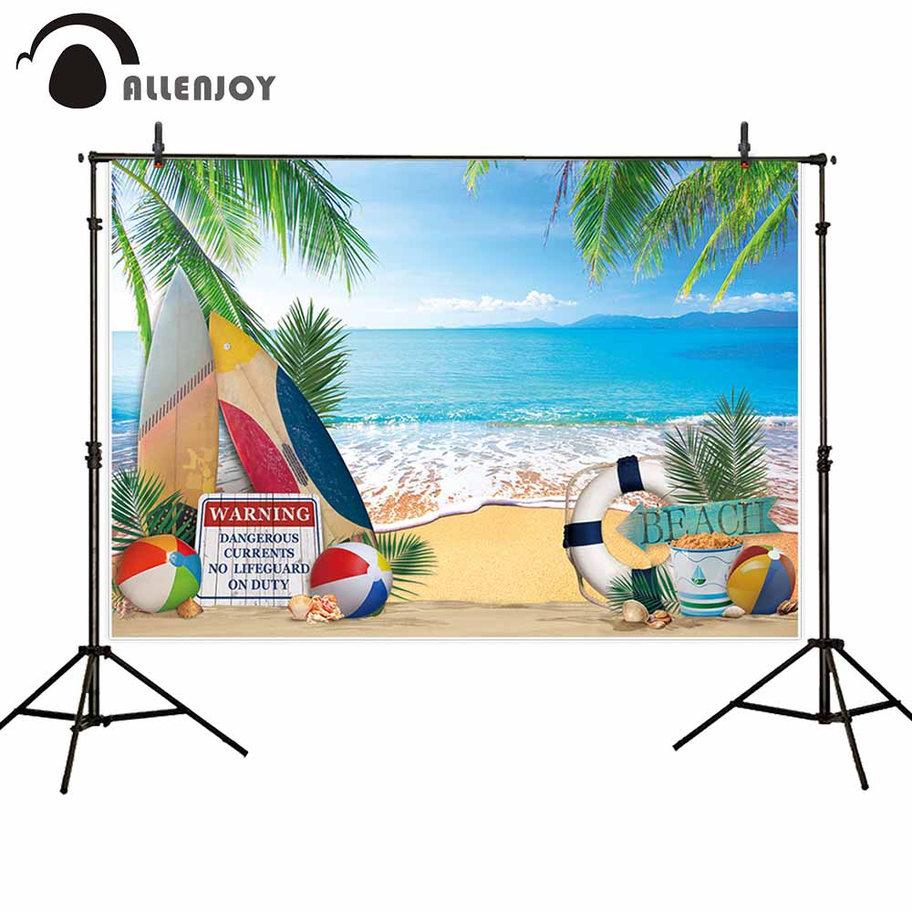 Allenjoy backdrop Beach ball Tropical coconut tree surfboard summer Holiday nature horizontal Photography photocall photo studio in Background from Consumer Electronics