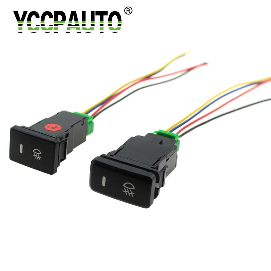 YCCPAUTO Car Fog Lights Switch For Toyota Camry Prius Corolla 4Pin Fog Lamp On-Off Button with Cable 1Pcs