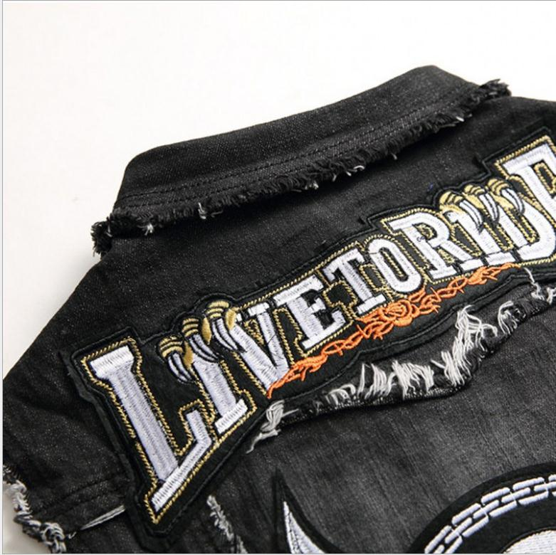 Closeout DealsMale Vest Jeans Tops Waistcoat Sleeveless Jacket Punk Black Mens Fashion Denim Embroidery