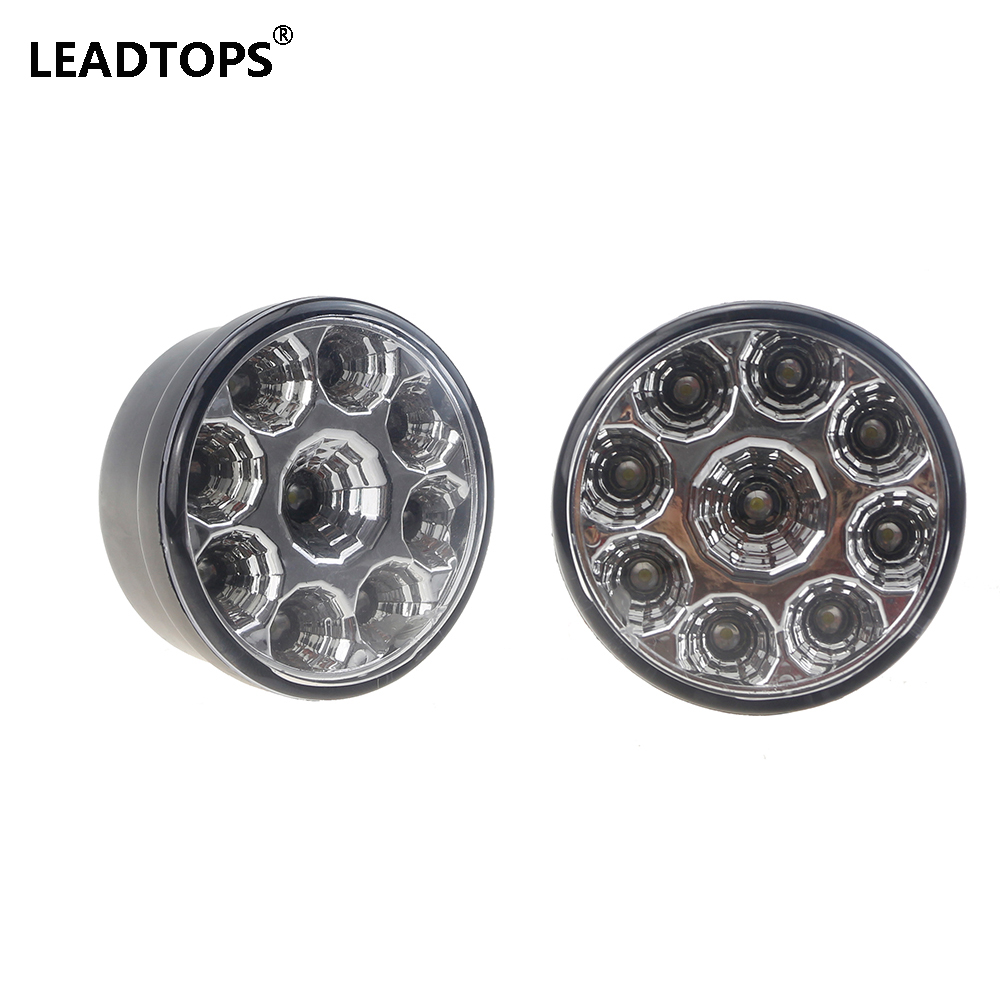 2PCS Car Headlight 9W LED Round Day Fog Light LED Auto DRL DC12V White Daytime Running Light DIY Cree Chip= EJ