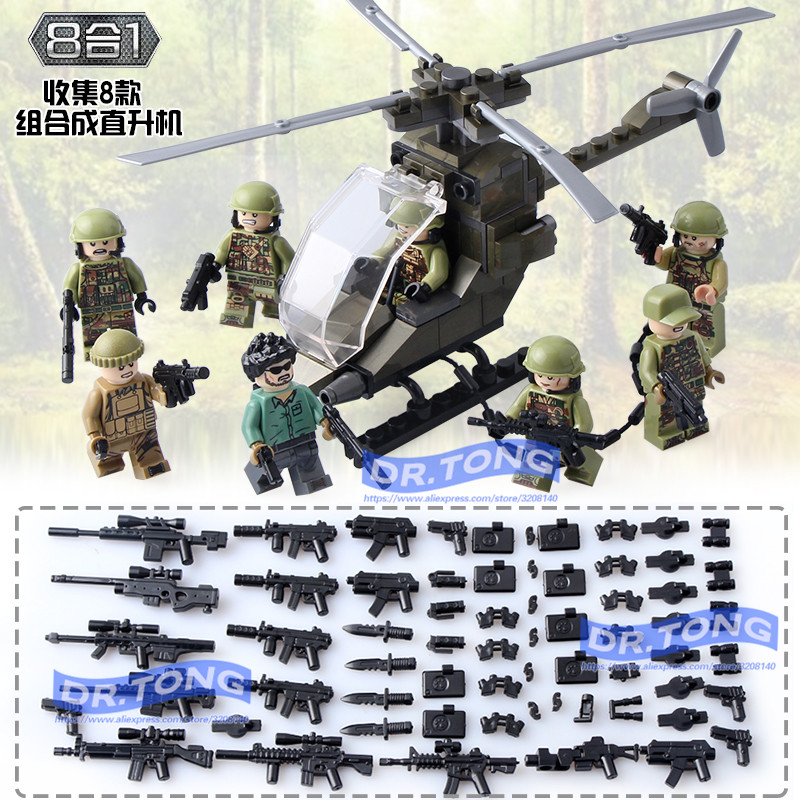 DR.TONG 80pcs/lot DLP9061 MILITARY Soldier Army WW2 Weapon Mini Building Blocks Brick Figures Educational Toys Children цена