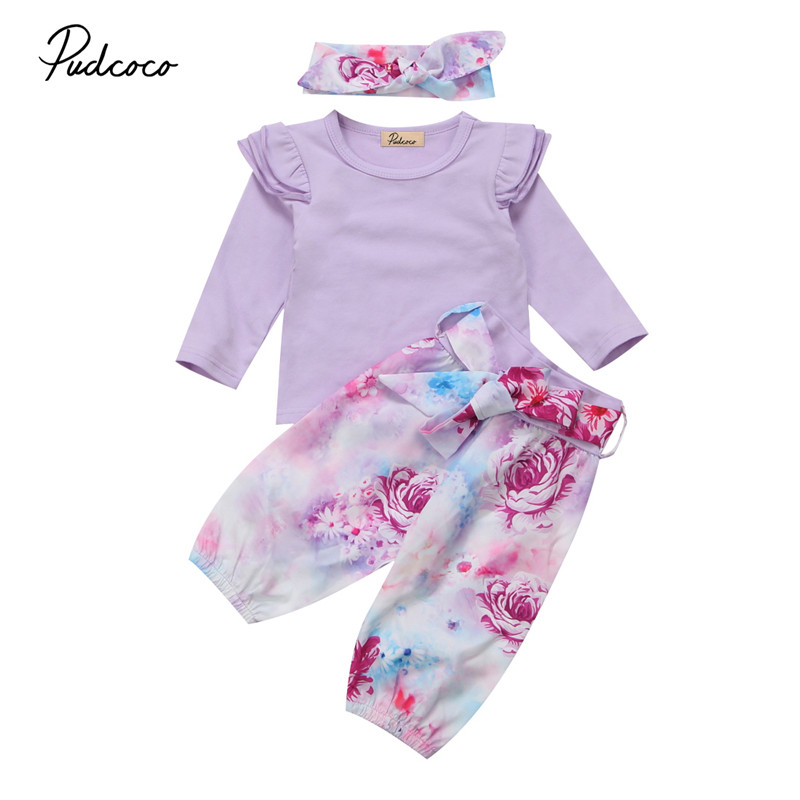 0 to 24M Newborn Kid Baby Girls Clothes New Style Floral Long Sleeve Tops Tee+Long Pants+Headdress 3pcs Outfit Baby Clothing Set