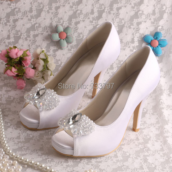 ФОТО Wedopus Top Quality Shoes Platform Women Crystal Diamond Wedding Shoes White