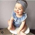 2016 Nueva Llegada vestido de traje traje de Ropa infantil vestido de niña hermosa azul fashipn verano nuevo estilo