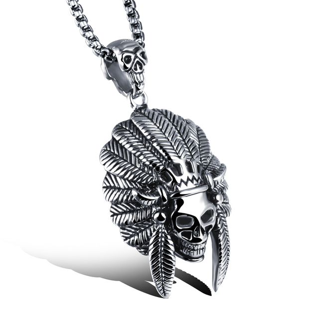 Skull necklace men jewelry retro vintage accessories punk stainless