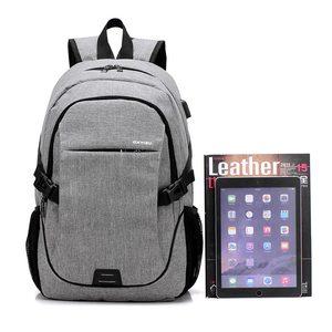 Image 4 - Kobiet i torba męska 2020 nowych moda wielofunkcyjne usb plecak na laptop z ładowaniem mężczyźni torba studencka kobiet jednolity kolor plecaki damskie