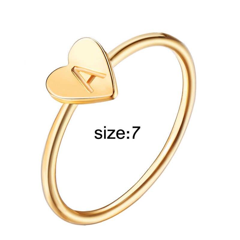 Индивидуальная обувь с ручной печатью укладки A-Z первоначальный кольца в богемном стиле с гравировкой кольца с буквами для Для женщин Золотой Цвет кольца в форме сердец, VR424