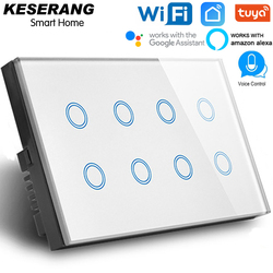 EU/UK/US/AU 1/2/3/4/8 Gang WIFI lichtschakelaar, app Afstandsbediening Muur Switch, Crystal Glass WIFI Smart Switch, Alexa Touch Schakelaar