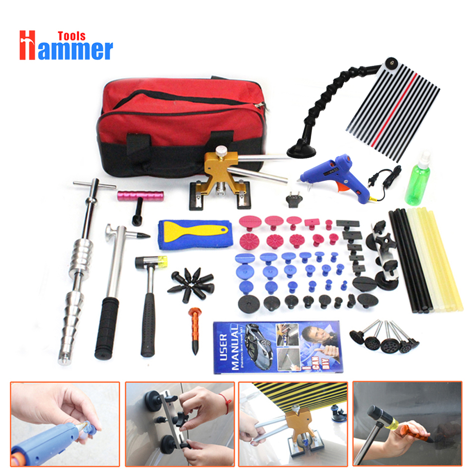 Full Paintless Dent Repair Puller Lifter PDR Tools Line Board Hail Removal Kit