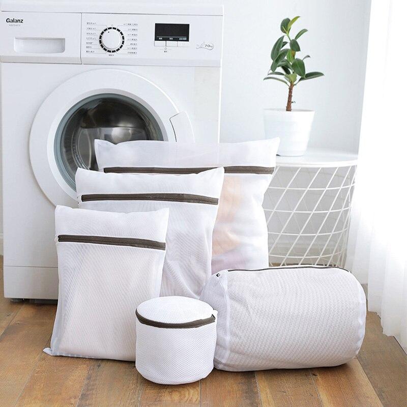 Bolsa para lavandería de nailon color blanco, calcetines, ropa interior, lavado de ropa, bolsas con rejilla roja, cesta para la colada Estantería de almacenamiento para cuarto de baño, estantería para limpieza de cocina, estantería para máquina de lavado, ahorro de espacio en el baño, soporte para estante de inodoro