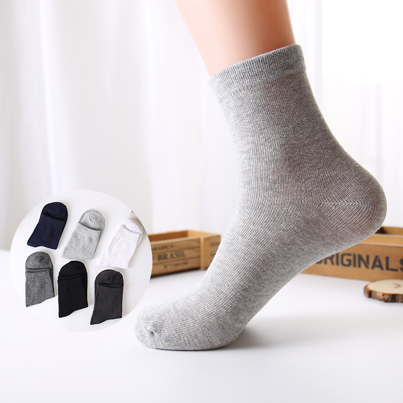 5pairs/lot Fashion High Quality 100% Cotton Men Socks Classic Business Socks Solid Color Winter Autumn