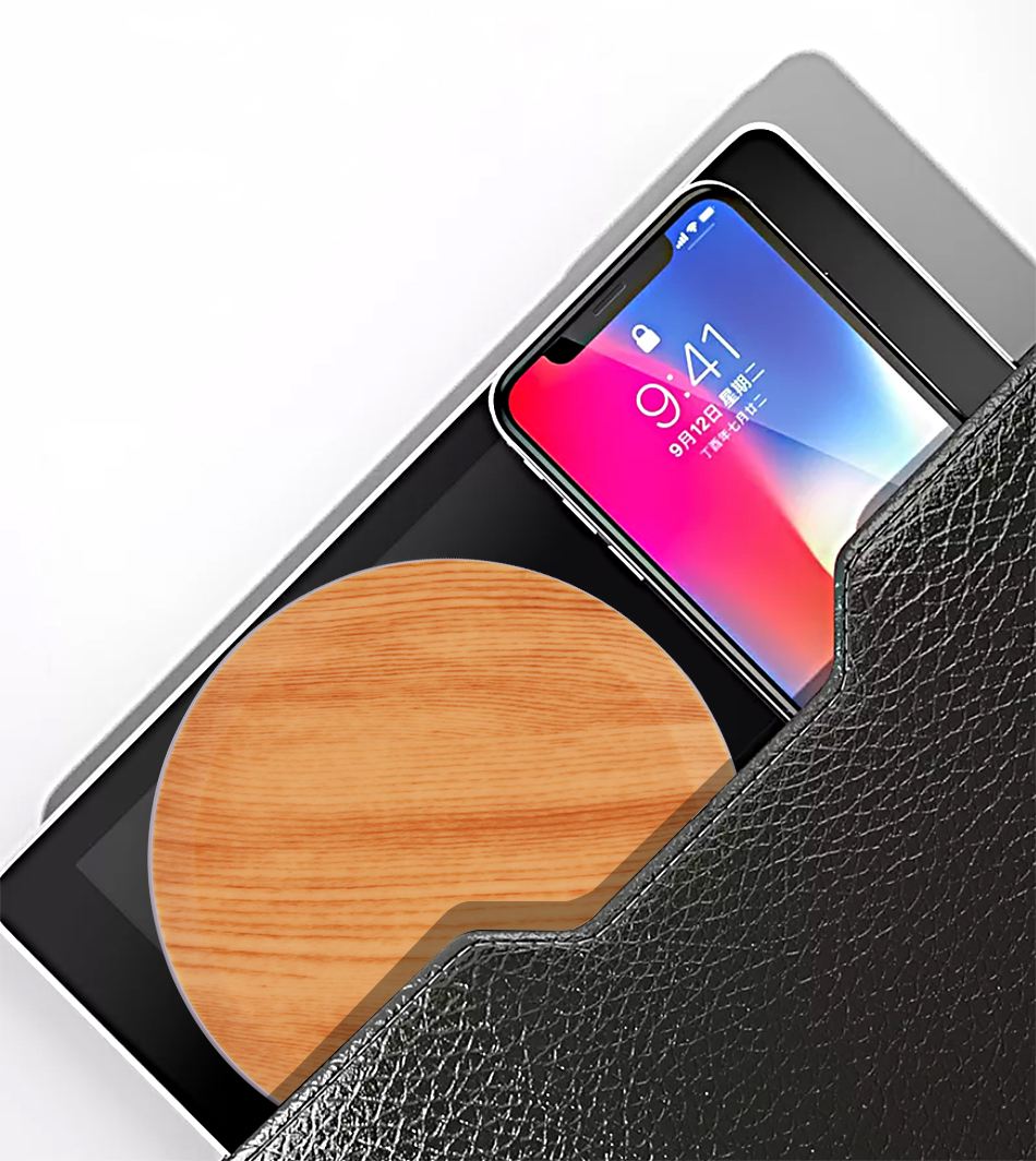CinkeyPro Wood Wireless Charger Pad with LED Light 5W Charging for iPhone 8 X Samsung XiaoMi Charge Mobile Phone USB QI Device 13