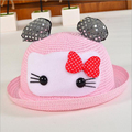 Baby Straw Hat 2016 New Summer Style Cat Print Caps Solid Princess Kids Bucket Hats Bow Accessories New Clothing BABY Straw Hat