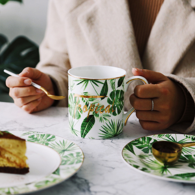 best golden strokes green plat new design porcelain coffee latte mug