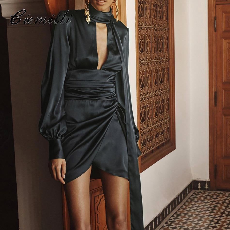 CIEMIILI Women Bandage Dresses 2018 Autumn Long Sleeve Evening Party Dress Sexy Club O nevk Sashes