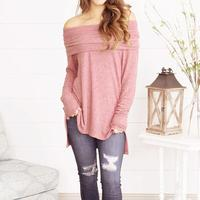 MUQGEW High Quality Fashion Sexy Women Loose Long Sleeve Off Shoulder Strapless Tops Ruched Blouse Cheap