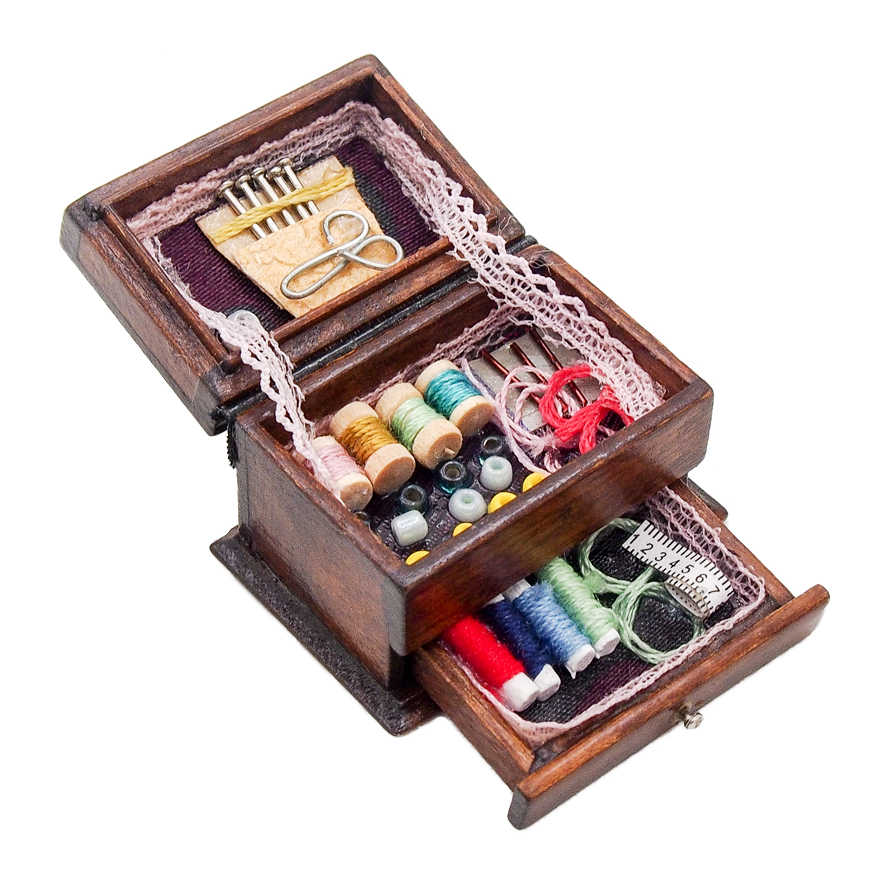 Odoria 1:12 Miniature Vintage Sewing Box with Needle Scissors Kit Dollhouse Decoration Accessories