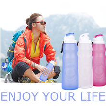 BPA Free 500ml Eco-Friendly Silicone Travel Sport Flexible Collapsible Water Bottles Foldable Drinkware