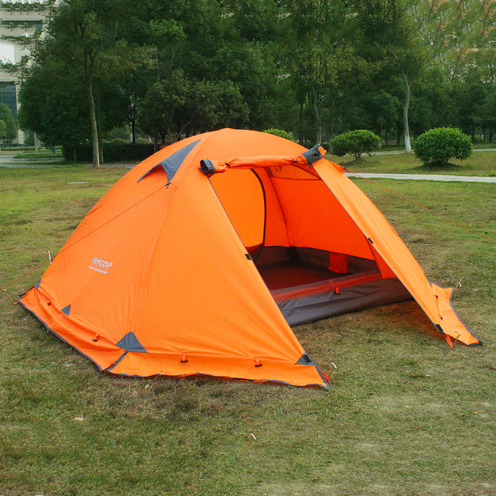 FLYTOP 2.1M Camping Tent Windproof Double Layer  For 2 person Waterproof Outdoor Recreation Hiking Climbing Equipment flytop high quality 3 person double layer rainproof windproof outdoor camping tent with snow skirt 210 50 180 50 115 cm