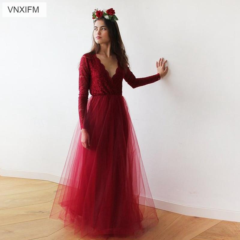 VNXIFM 2019 Red Bohemian Lace Beach Wedding Dress Long Sleeve V-Neck Boho Bridal Gowns Country Hippie Wedding Dresses